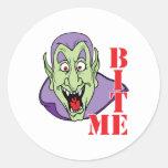 Pegatinas divertidos del vampiro de Halloween Etiquetas Redondas