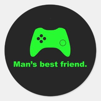 Pegatinas divertidos del videojugador del mejor etiquetas redondas