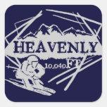 Pegatinas divinos de la elevación del esquí de pegatina cuadrada