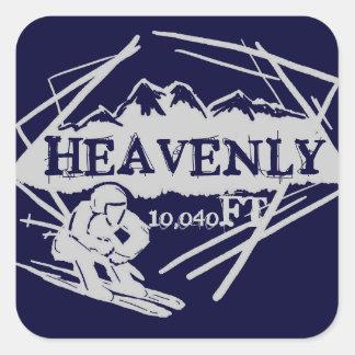 Pegatinas divinos de la elevación del esquí de calcomanias cuadradas