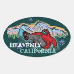 Pegatinas divinos del fragmento del snowboarder de pegatina ovalada