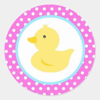 Pegatinas Ducky de goma del favor del pato Etiqueta Redonda
