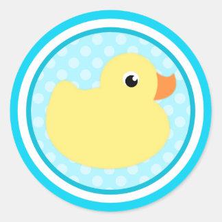 Pegatinas dulces azules del pato del bebé de la pegatina redonda