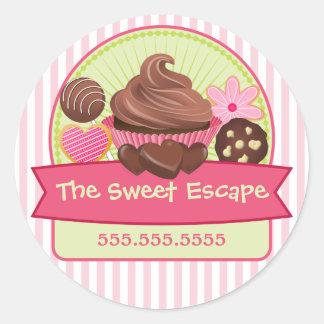 Pegatinas dulces de los postres etiqueta redonda