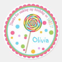 Pegatinas dulces del cumpleaños del Lollipop de la Pegatinas Redondas