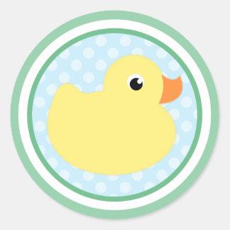 Pegatinas dulces del pato del bebé etiqueta redonda