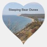 Pegatinas durmientes de las dunas del oso del pegatina corazon