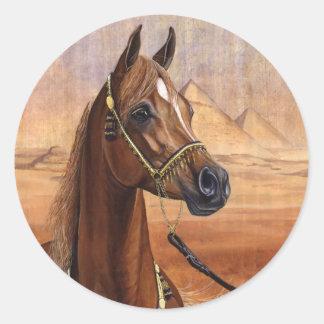 Pegatinas egipcios del caballo de princesa Arabian Etiquetas Redondas