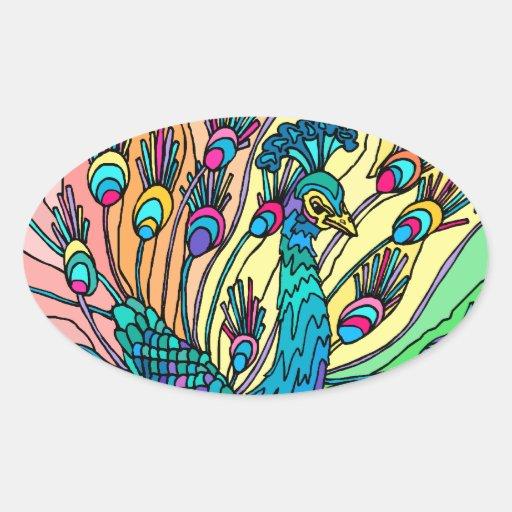 Pegatinas: El pavo real muestra sus plumas