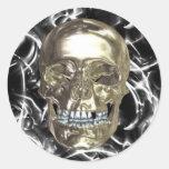 Pegatinas eléctricos del cráneo del cromo etiqueta redonda
