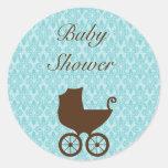 Pegatinas elegantes de la ducha del carro de bebé pegatina redonda