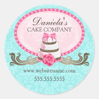 Pegatinas elegantes de la panadería de la torta y etiquetas redondas