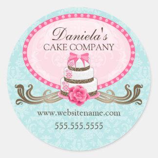 Pegatinas elegantes de la panadería de la torta y etiqueta redonda