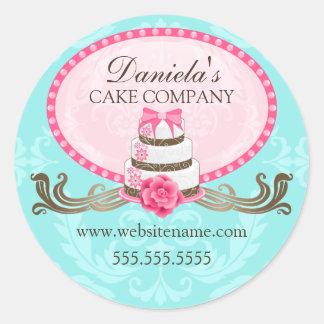 Pegatinas elegantes de la panadería de la torta y pegatinas redondas