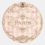 Pegatinas elegantes de Tre París o sellos del Etiquetas Redondas