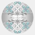 Pegatinas elegantes del azul de la plata y del pegatinas redondas