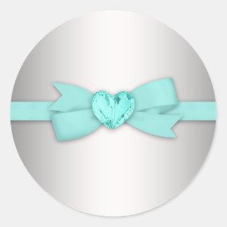 Pegatinas elegantes del azul de la plata y del pegatina redonda