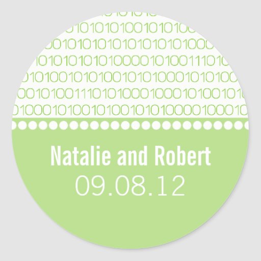 Pegatinas elegantes del boda del código binario pegatina redonda