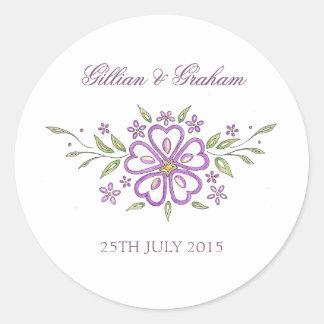 Pegatinas elegantes del boda del diseño floral pegatina redonda