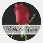 Pegatinas elegantes del boda del rosa rojo