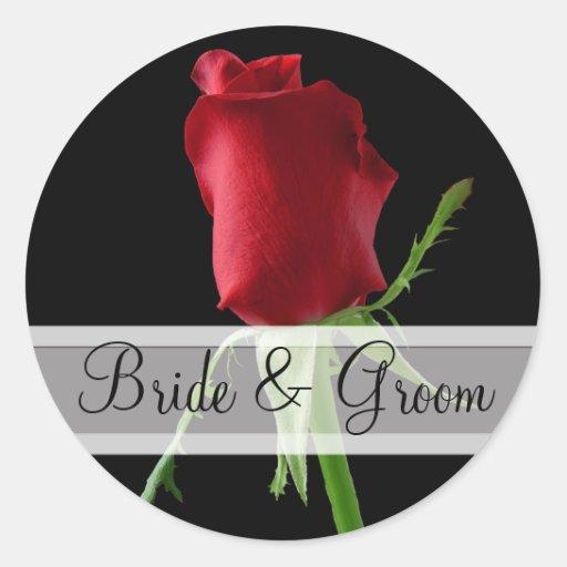 Pegatinas elegantes del boda del rosa rojo etiqueta redonda