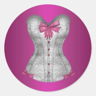 Pegatinas elegantes del corsé de las rosas fuertes pegatina redonda