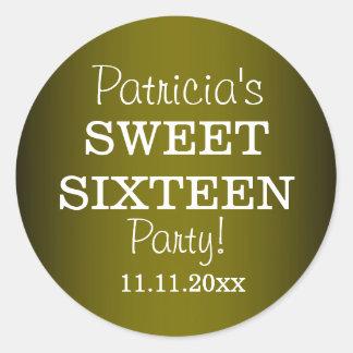 Pegatinas elegantes del fiesta del dulce 16: Verde Pegatina Redonda