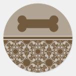 Pegatinas elegantes del hueso de perro de Brown