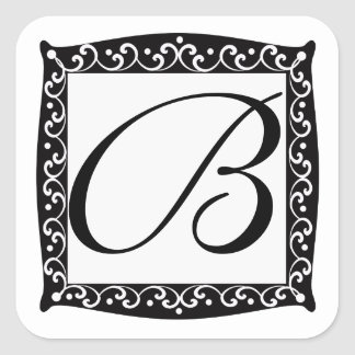 Pegatinas elegantes del monograma calcomania cuadradas