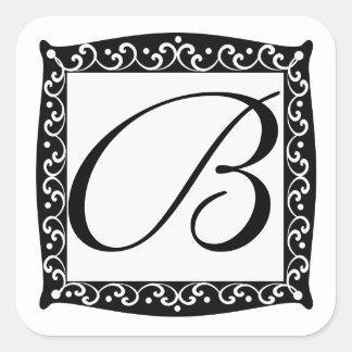 Pegatinas elegantes del monograma pegatina cuadrada