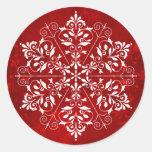 Pegatinas elegantes del navidad del copo de nieve etiquetas redondas