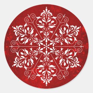 Pegatinas elegantes del navidad del copo de nieve pegatina redonda