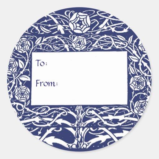 Pegatinas elegantes del regalo de la frontera de etiqueta redonda