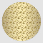 Pegatinas elegantes del remolino del oro pegatina redonda