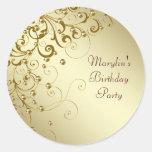 Pegatinas elegantes del remolino del oro etiquetas redondas