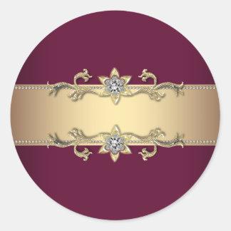 Pegatinas elegantes del vino rojo y del oro pegatina redonda