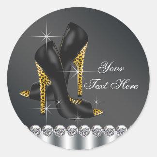 Pegatinas elegantes del zapato del tacón alto de pegatinas redondas