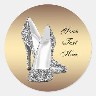 Pegatinas elegantes del zapato del tacón alto del etiquetas redondas