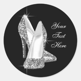 Pegatinas elegantes del zapato del tacón alto del pegatina redonda