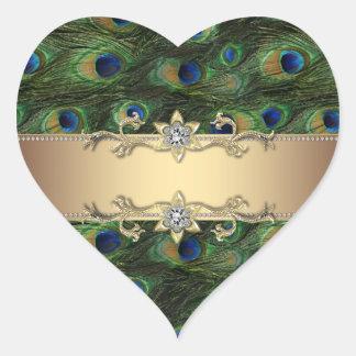 Pegatinas elegantes esmeralda del pavo real del pegatinas corazon