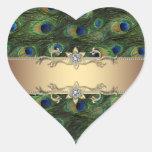 Pegatinas elegantes esmeralda del pavo real del or
