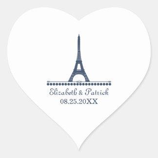 Pegatinas elegantes parisienses del boda, azules pegatina en forma de corazón