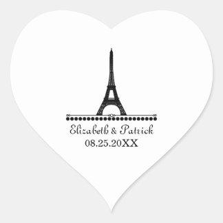 Pegatinas elegantes parisienses del boda, negros pegatina de corazón