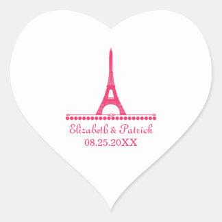 Pegatinas elegantes parisienses del boda, rosados pegatina en forma de corazón