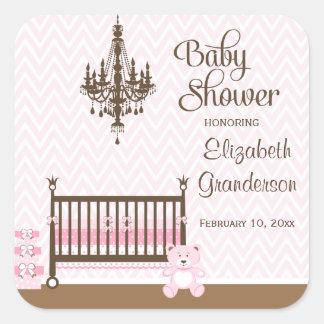 Pegatinas elegantes rosados de la ducha de la niña pegatina cuadradas