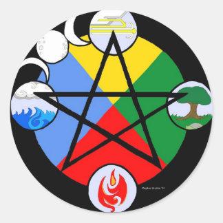 Pegatinas elementales del Pentagram Pegatina Redonda
