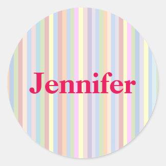Pegatinas en colores pastel personales de la raya pegatina redonda