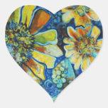 Pegatinas en forma de corazón con los girasoles pegatina en forma de corazón