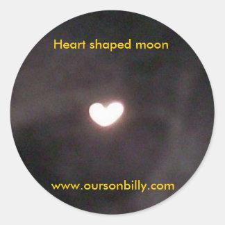Pegatinas en forma de corazón de la luna pegatina redonda