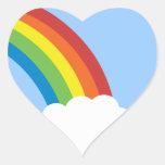 pegatinas en forma de corazón del arco iris retro